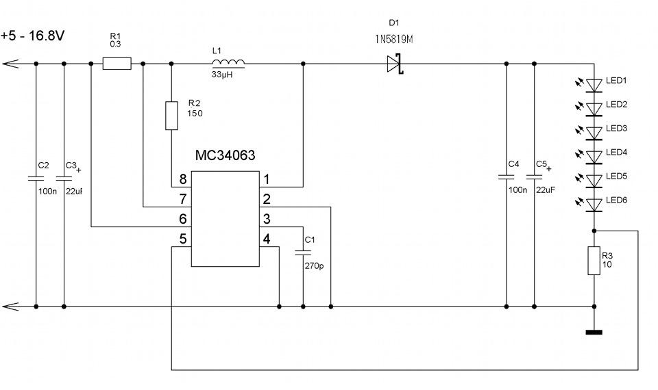 Простой стабилизатор тока для светодиодов схема