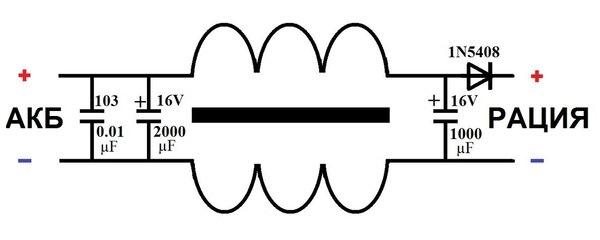 Схема фильтра от помех в авто