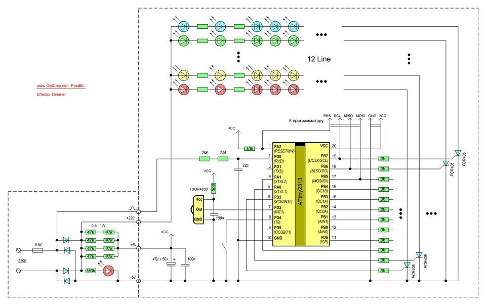 схема электрогирлянды китайской