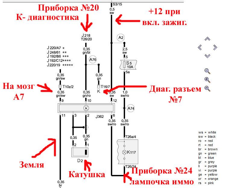 Иммобилайзер, immo1 схема подключения