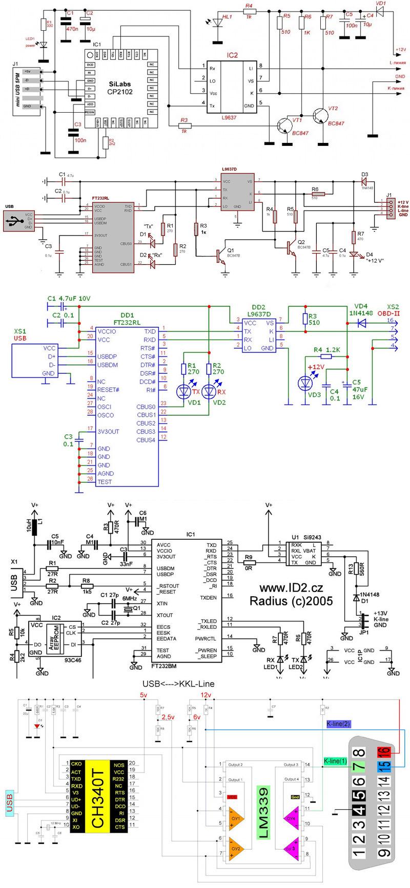 Схемы диагностических адаптеров KKL, VAG COM