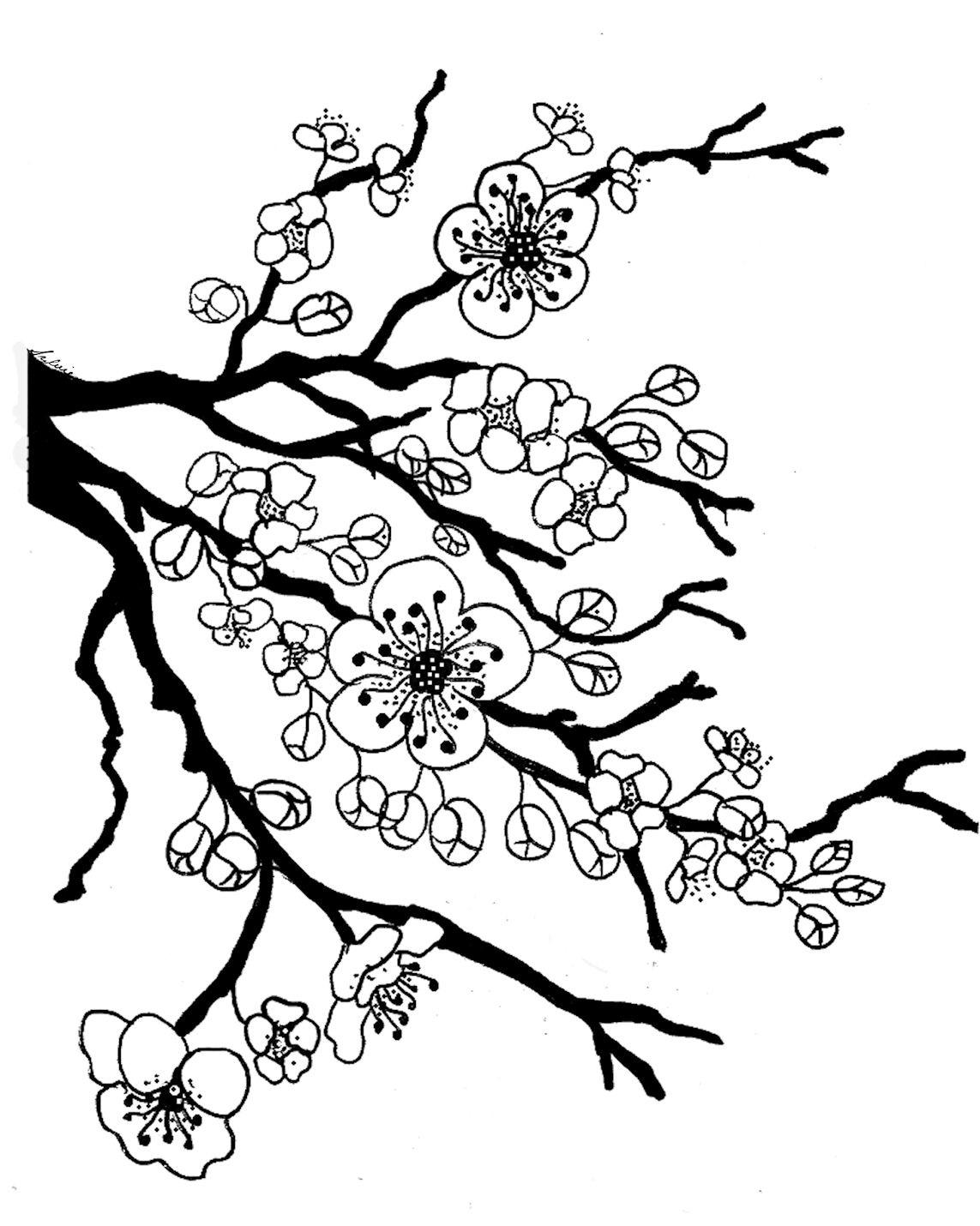 Картинки сакура черно-белые