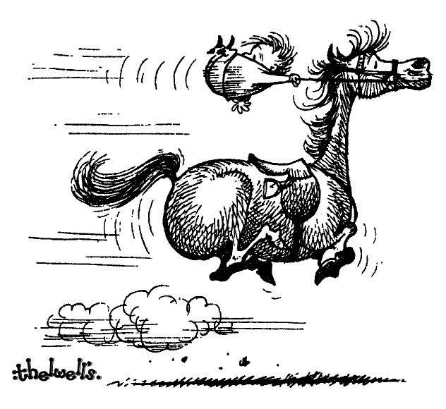 На коне смешные картинки рисованные